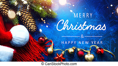 Art Merry Christmas and Happy New Year greeting card background