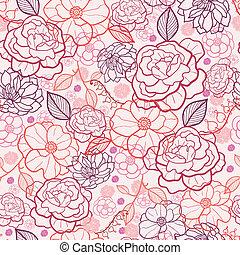 art, modèle, seamless, fond, ligne, fleurs