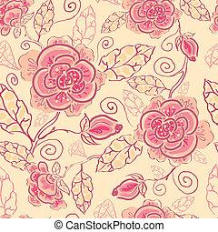 art, modèle, seamless, roses, fond, ligne