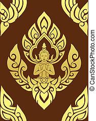 art, modèle, traditionnel, fond, vector., thaï, art.