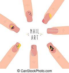 art., modny, paznokieć, abstrakcyjny, manicure.