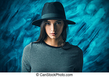art mood - Studio shot of a magnificent young woman in a...