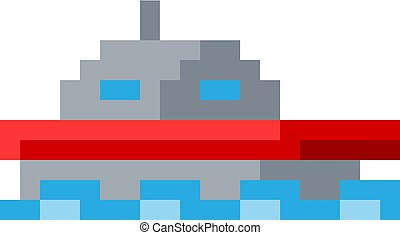 art, morceau, jeu, vidéo, 8, bateau, pixel, bateau, icône