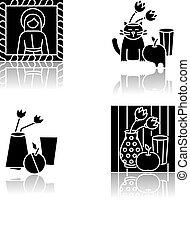 Art movements drop shadow black glyph icons set