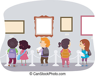 Art Museum Kids - Illustration of Kids Looking at the...