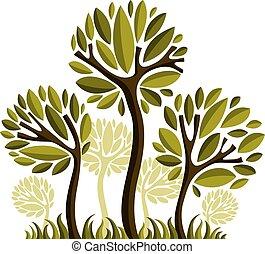 art, nature, image, symbolique, illustration, créatif, idea., arbre, vecteur, forêt, concept., plante