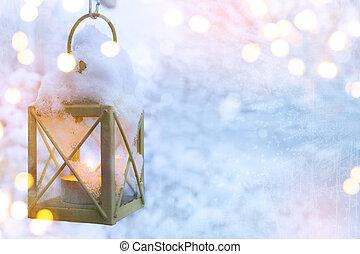 art, noël, lanterne, à, chute neige