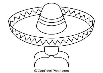 art, noir, avatar, mexicain, ligne, blanc, homme