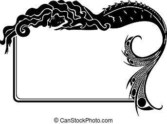 art-nouveau, 框架, 黑色半面畫像, 美人魚