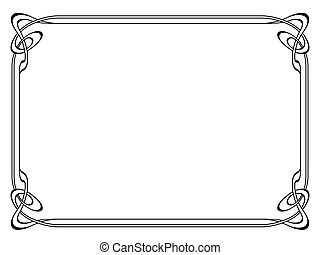 art nouveau black ornamental decorative frame - Vector art ...