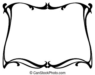 art nouveau black ornamental decorative frame