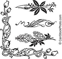 Art Nouveau corners and dividers - Art Nouveau ornament...