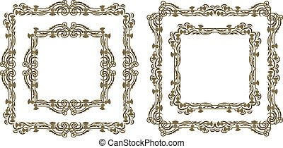 Art Nouveau Floral Frames - A set of decorative floral...