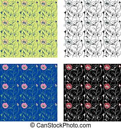 Four different art nouveau floral pattern. Plants and flower realized with a minimal style.