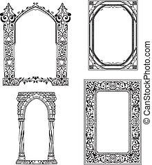 Art Nouveau frames. Set of black and white vector ...