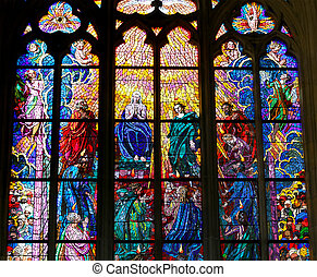Art Nouveau painter Alfons Mucha Stained Glass window in St....