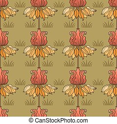 art-nouveau pattern with flowers