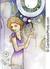 Illustration of a beautiful, romantic and pensive girl on an abstract background