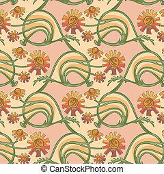 art-nouveau, seamless, 手ざわり, camomile, 花, calendula, スタイル