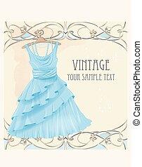 Art nouveau  style vintage  label with blue dress