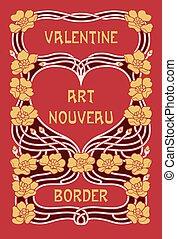 Art Nouveau Valentine's Day border