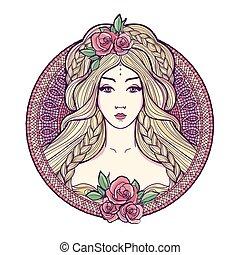 Art nouveau woman. - Art nouveau woman with beautuful long ...