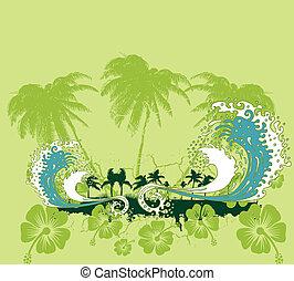 art, océan pacifique, vecteur, plage paume