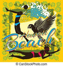 art, océan pacifique, vecteur, volée, plage