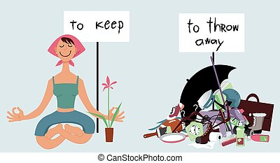 Art of decluttering - Happy woman sitting in meditation pose...