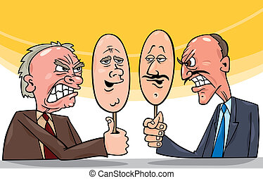 cartoon illustration of two antagonist politicians talking on television