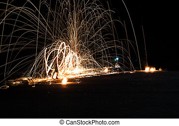 Art of fire show on the beach