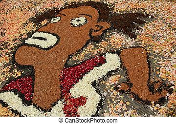 art of flower carpets, Italy, infiorata festival in tuscan...