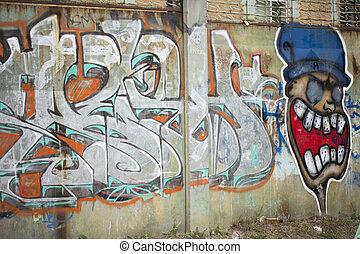Art of graffiti on the street wall