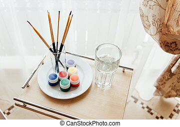 paint colors painting on white background. - Art of...