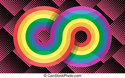 art of rainbow infinity on abstract background