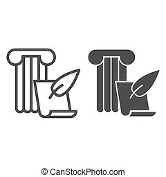 Art of writing line and solid icon. Ancient column with feather pen and papyrus paper. History subject vector design concept, outline style pictogram on white background.