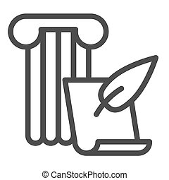 Art of writing line icon. Ancient column with feather pen and papyrus paper. History subject vector design concept, outline style pictogram on white background.