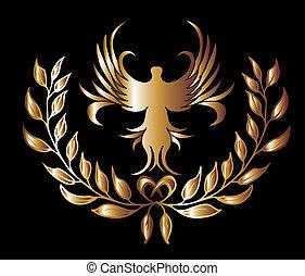 art, or, couronne, lion, vecteur, arrière-plan noir