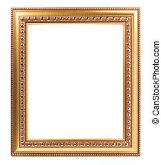 art, or, porte-photo, isolé, conception, retro, fond, blanc, vide