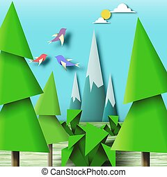Art Origami Birds on the Colorful Paper Landscape