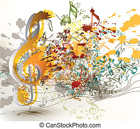 Art ornate treble clef with colorfu