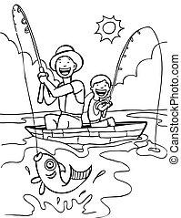 art, père, fils, ligne pêche, :, voyage