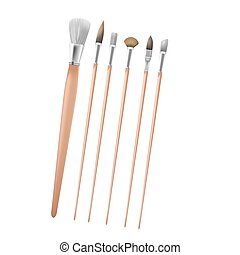 Art Paint Brush Collection Set Vector