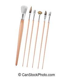 Art Paint Brush Collection Set Vector