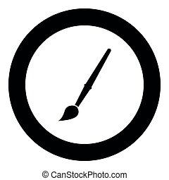 Art paint brush icon black color in circle