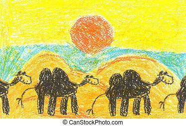 Art painting with camelcade in lifeless desert - Children's ...