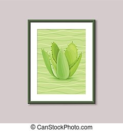 Art painting with succulent in frame on gray background....