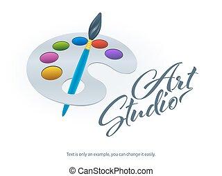 Art palette and paint brush template. Realistic design. Vector Illustration.
