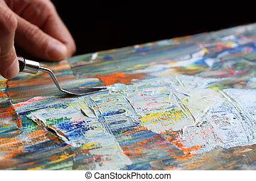 art,  palette, peinture, couteau
