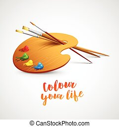 Art palette with paint brush and pencil tools for drawing. Vector illustration